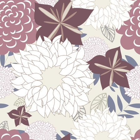 Motif floral vectorielle continue. Facile pattern transparente prise juste faites glisser tous les groupe dans la barre de nuancier et utilisez-le pour toute les contours de remplissage.