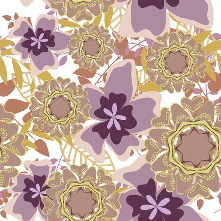 Nahtlose Vektor floralen Muster. Für die einfach nahtlose Muster ziehen Sie einfach alle Gruppe in Farbfelder Bar, und verwenden Sie es zum Ausfüllen alle Konturen.