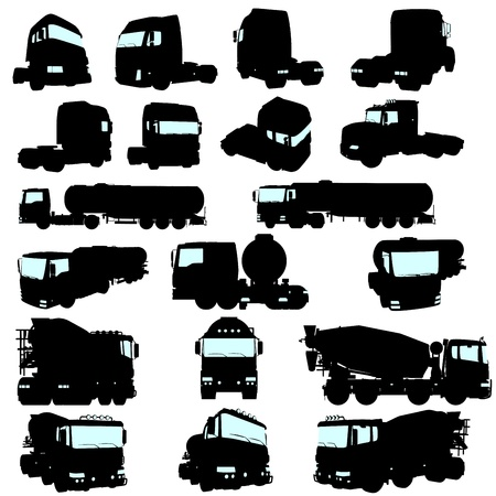 cartoons outline: Big collection of high detail trucks silhouette. Vector illustration.