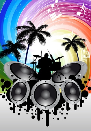 Rock group drummer at thropical and festive rays background. Vector illustration for design use.