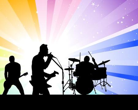 guitariste: Groupe de rock chanteurs th�me. Vector illustration d'utiliser le design.