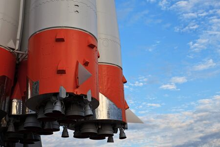 return trip: The Monument of  Russian space transport rocket. Samara. Russia.