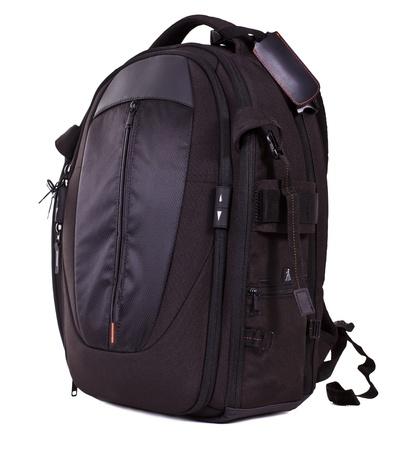 mochila viaje: Mochila negra foto aislada sobre fondo blanco