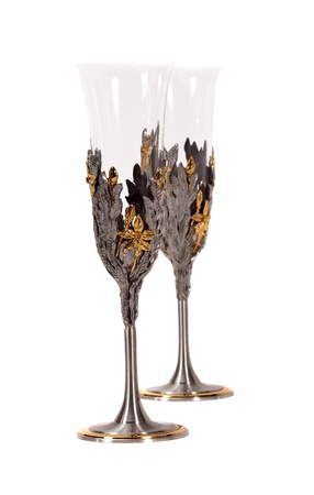 goblet: Pair of decorative wine glasses on white background