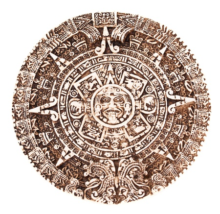 indian artifacts: Mayan calendar isolated on the white background