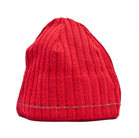 Knitted wool hat isolated on white background photo