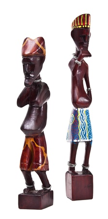 ebony: Wooden african figurine isolated on white background