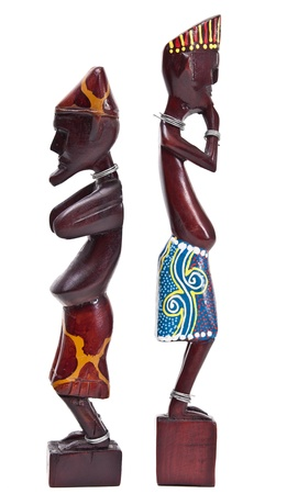 Wooden african figurine isolated on white background  photo