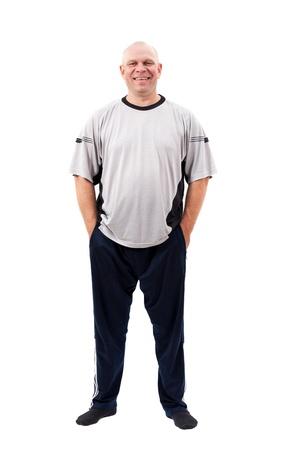 expression corporelle: Portrait d'un homme d'�ge moyen isol� sur fond blanc