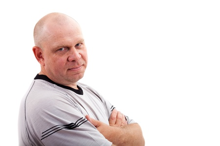 mid adult men: Portrait of middle aged man isolated on white background
