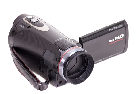 compact camera: Black hd video camera isolated on white background Stock Photo