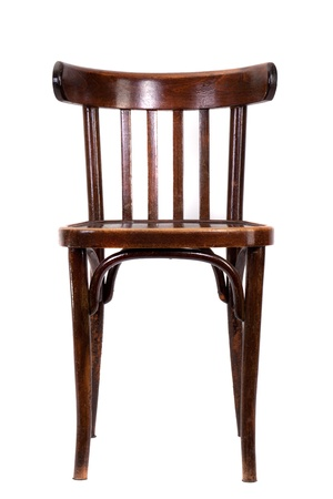 Brown bent-wood chair isolated on white background photo