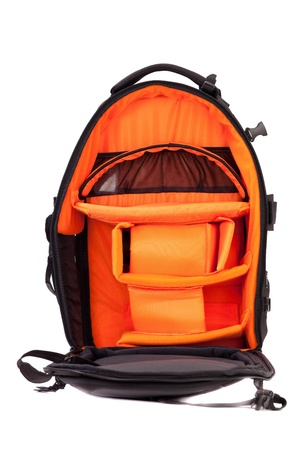 Travel Backpack: Negro foto mochila aisladas sobre fondo blanco Foto de archivo