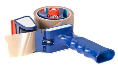 dispensador: Gran dispensr cinta adhesiva de color marr�n sobre fondo blanco