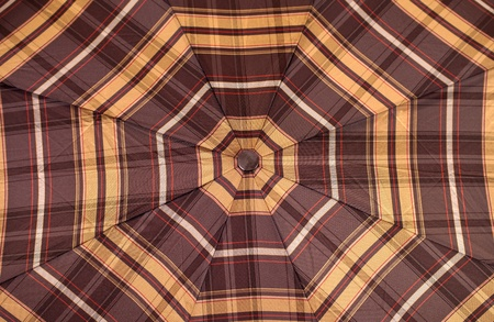 woman with umbrella: Close-up view of checked brown woman umbrella