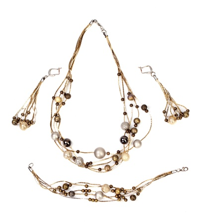 costume jewelry: Beautiful bijouterie necklace  isolated on white background