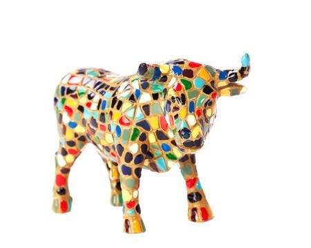 vacas lecheras: Macro vista de toro decorativa sobre fondo blanco