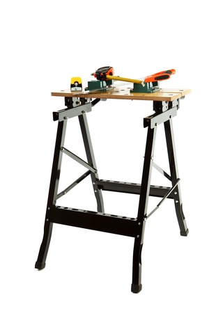 mesure: Work bench with clamp isolated on white background