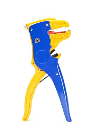 Professional blue with yellow wire stripper isolated on white background photo