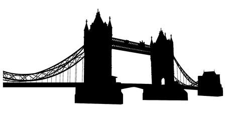 london tower bridge: Bridge tower silhouette. Vector illustration for design use.