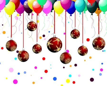 Christmas (New Year) balls on festive background for design use. Vector illustration. Vector