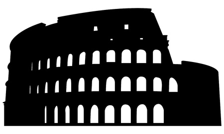 Roman coliseum silhouette. Vector illustration for design use.