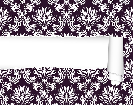 Damask seamless vector pattern with ripped copy-space for your text.  For easy making seamless pattern just drag ornate group into swatches bar, and use it for filling any contours. Vector