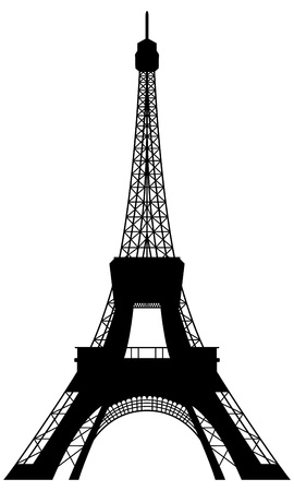 tower: Eiffel tower silhouette. Vector illustration for design use.