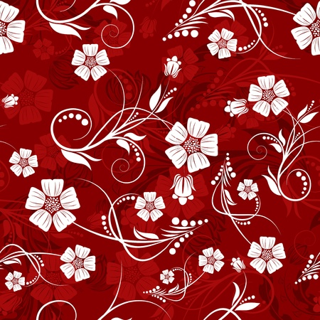 swatches: Seamless vector floral pattern. For easy making seamless pattern just drag all group into swatches bar, and use it for filling any contours. Illustration
