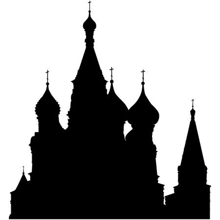 Silueta de Catedral de San Basilio en la Plaza Roja, Moscú, Rusia. Ilustración vectorial.