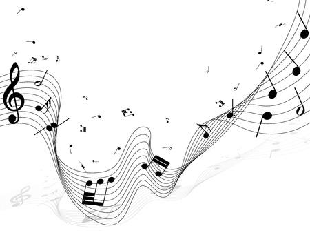 pentagrama musical: Notas musicales de fondo vector para el uso personal de dise�o