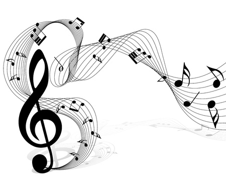 treble clef: Vector musical notes staff background for design use Illustration