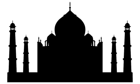 taj: Taj mahal temple silhouette. Vector illustration for design use.