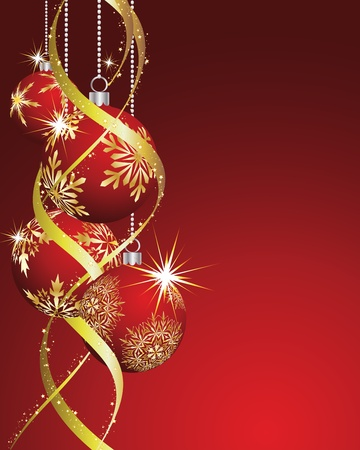 ball lights: Beautiful vector Christmas (New Year) card for design use