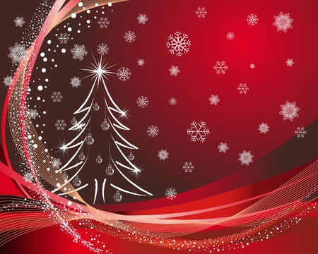 christmas trees: Beautiful vector Christmas (New Year) card for design use