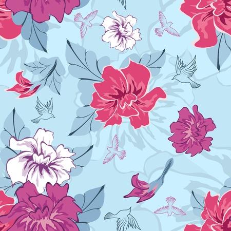 remplissage: Motif floral vectorielle continue. Facile pattern transparente prise juste faites glisser tous les groupe dans la barre de nuancier et utilisez-le pour toute les contours de remplissage. Illustration