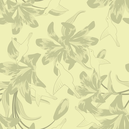 grunge floral: Seamless vector floral pattern. For easy making seamless pattern just drag all group into swatches bar, and use it for filling any contours. Illustration