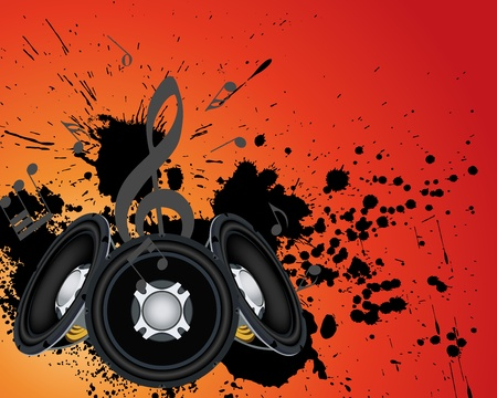 clubbing: Musial grunge background. Vector illustration.