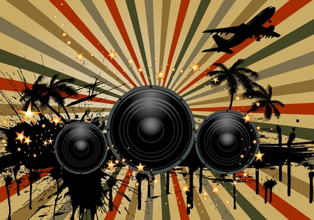 audio speaker: Musial grunge background. Vector illustration.