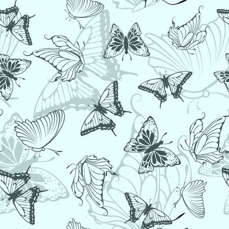 Seamless vector butterfly pattern. For easy making seamless pattern just drag all group into swatches bar, and use it for filling any contours. Illustration
