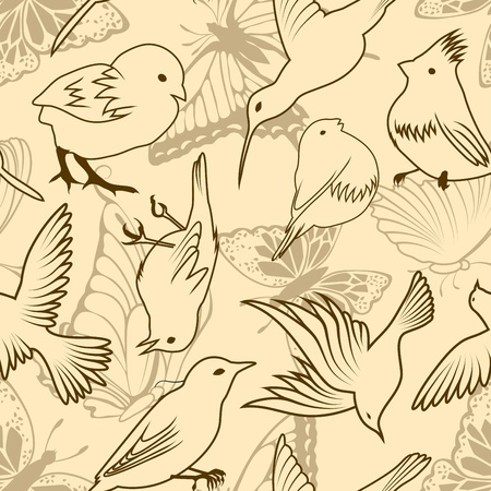 Seamless vector bird and butterfly pattern. For easy making seamless pattern just drag all group into swatches bar, and use it for filling any contours. Vector