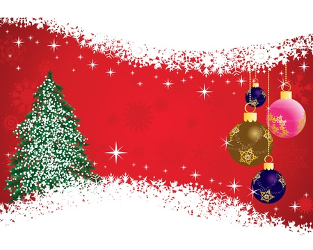 abeto: Beautiful vector Christmas (New Year) card for design use