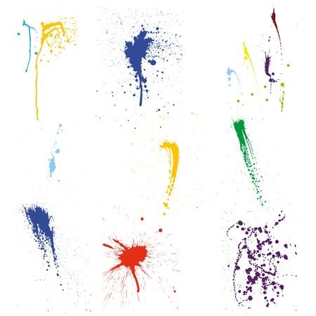 splash color: Colore modello vettoriale grunge impostato per l'utilizzo di progettazione. Vettoriali