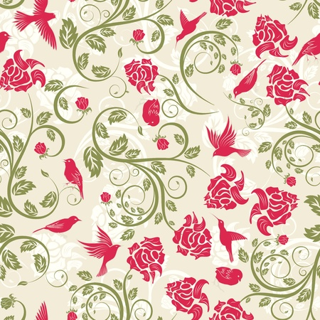 Seamless vector floral pattern. For easy making seamless pattern just drag all group into swatches bar, and use it for filling any contours. Stock Vector - 10917728