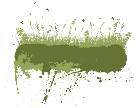inkblots: Vector grunge grass silhouettes background. All objects are separated.