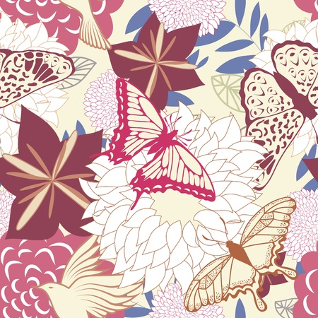 wrapping animal: Seamless floral pattern. For easy making seamless pattern just drag all group into swatches bar, and use it for filling any contours.
