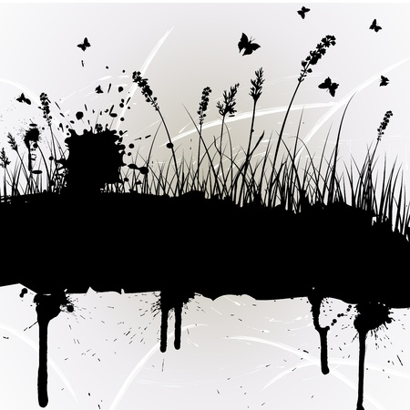 inkblot: grunge grass silhouettes background. All objects are separated.