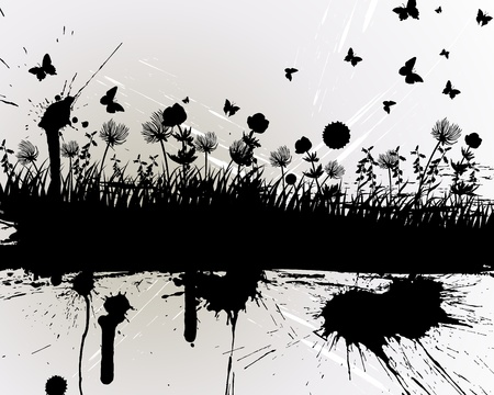 blots: grunge grass silhouettes background. All objects are separated.