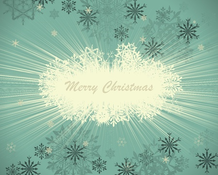 blue lights: Vintage retro Christmas (New Year) card for design use