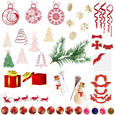 Big collection of different Christmas elements for design use Vector
